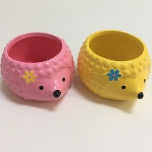 Other - SALE Pink and Yellow Hedgehog Planters